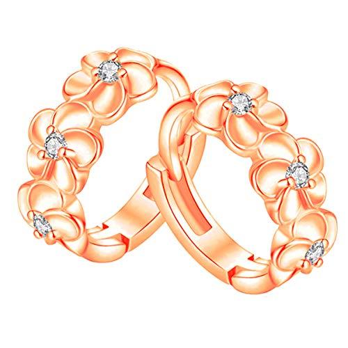 (18K Rose Gold Plated Hoop Earrings for Cartilage Sterling Silver Small Clasp Hinged Hoop Earrings Anniversary Her Grandma Teenage Girls Flower Hinged Mother's Day Gifts Girlfriend Wife)
