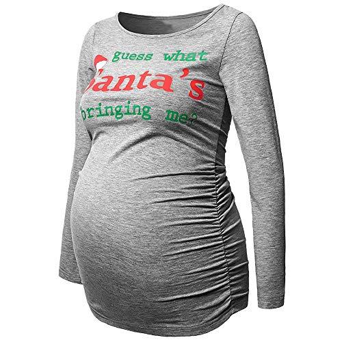 (Christmas Women's Pregnants Maternity T-Shirt, Women Pregnant Nursing Baby Maternity Long Sleeve Mother Funny Print Tops (Gray, L))