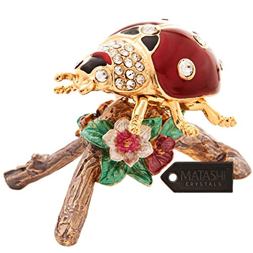 24K Gold Plated Crystal Studded Gold & Enamel Lady Bug Ornament by Matashi