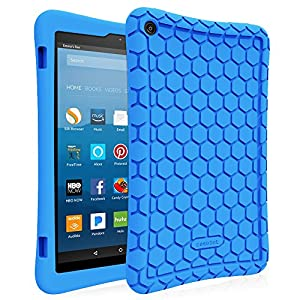 Fintie Silicone Case for all-new Fire HD 8 Tablet (7th Generation, 2017 Release) - [Honey Comb Upgraded Version] [Kid Friendly] Light Weight [Anti Slip] Shock Proof Protective Cover, Blue