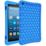 Fintie Silicone Case for All-New Amazon Fire HD 8 (Compatible with 7th and 8th Generation Tablets, 2017 and 2018 Releases) - Honey Comb [Corner Enhancement] Shockproof Kid Friendly Cover, Blue