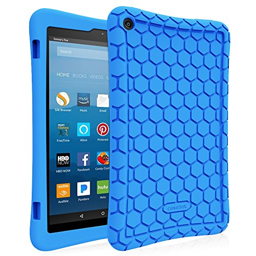 Fintie Silicone Case for All-New Amazon Fire HD 8 (Compatible with 7th and 8th Generation Tablets, 2017 and 2018 Releases) - Honey Comb [Corner Enhancement] Shockproof Kid Friendly Cover, - Tablet Case Inch Kids 8