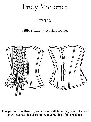 Steampunk Sewing Patterns- Dresses, Coats, Plus Sizes, Men's Patterns Patterns - Truly Victorian #110 1880s Late Victorian Corset $13.00 AT vintagedancer.com