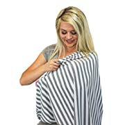 Multi-Use Baby Breastfeeding Infinity Nursing Cover / Nursing Scarf - Tykes & Tails Gray / White Stripe Pattern - Many Colors and Patterns of Premium Breastfeeding Covers