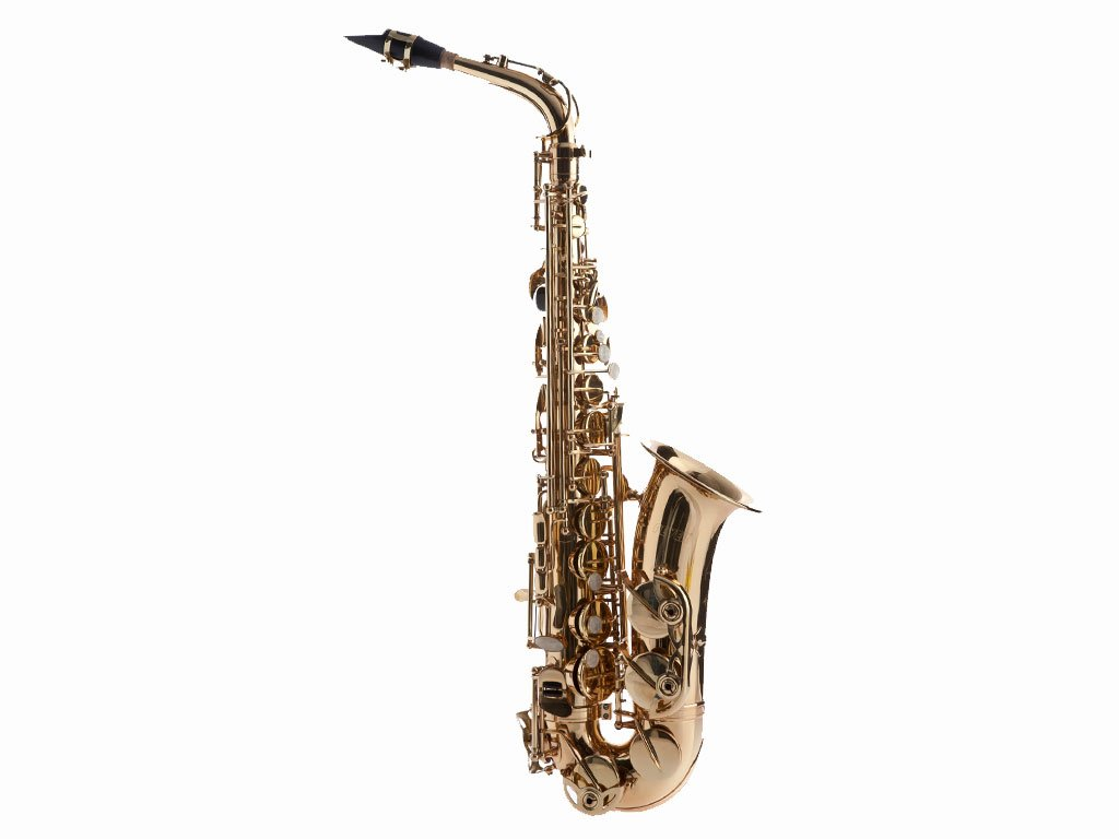 Fever Beginner Student Alto Saxophone Gold with Case, Mouthpiece and Reed