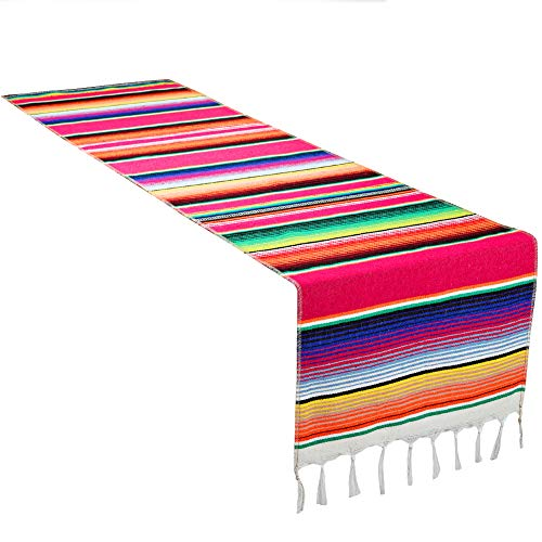 - CRJHNS Mexican Serape Table Runner, Handwoven Cotton Serape Runners for Fiesta Party Wedding and Home Decorations,14x84 Inch (14x84/Rose Red)
