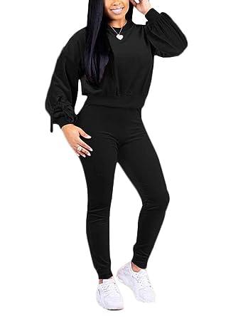 f8d5b9d506cf Women's Casual 2 Piece Velvet Tracksuit Lantern Long Sleeve Pullover  Sweatshirt + Skinny Long Pants Set