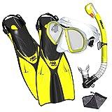 Promate Spectrum Snorkeling Fins Mask Snorkel Set, Yellow, SM