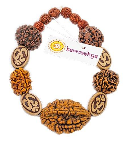 Karmashya 8mm Rudraksh Rudraksha 2 3 4 5 6 Muki Mukhi Om Bracelet Wrist Hastha Kavach Band