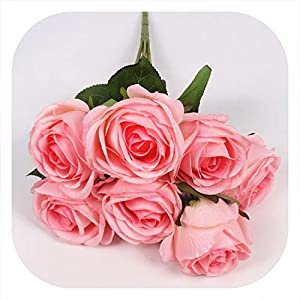 Memoirs- 7 Heads Rose Flower Bouquet Palace Emperor Rose Silk Flower Rose Bouquet Wedding Decoration Artificial Flower,B 98