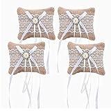 LONGBLE 4pcs Lace Ribbon Burlap Mini Ring Pillow Jute Pocket Size Pillows Cushions Wedding Mariage Party DIY Decoration Garden Home dresser Ornaments