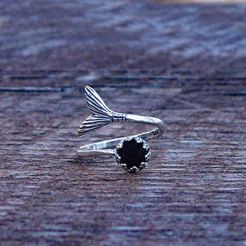 Recycled Antique Black Depression Glass Mermaid Ring in Sterling - Platter Depression