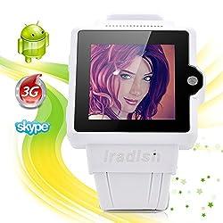 Iradish 1.54 Android 4.0 Mtk6577 Bluetooth Wifi 3g Watch Phone Smartwatch Touch Screen Display, Gps, Camera, Dual Core CPU (White)