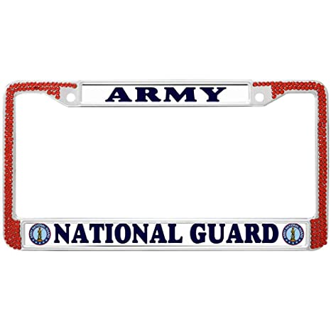 ARMY NATIONAL GUARD METAL CHROME LICENSE PLATE FRAME