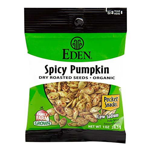 Eden Organic Spicy Pumpkin Seeds, Dry Roasted, Pocket Snacks, 1 Ounce (Pack of (Organic Roasted Soy Sauce)
