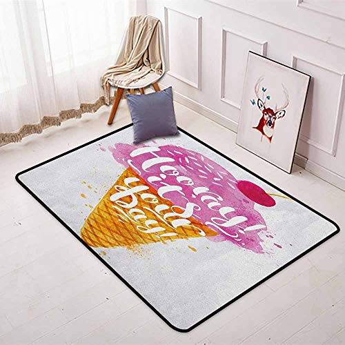 Ice Cream Regional Round Carpet Hooray! Its Your Day Phrase with Ice Cream Cone Cherry Flavor Print Non-Slip Easy to Clean W35.4 x L47.2 Inch Fuchsia Amber Pearl