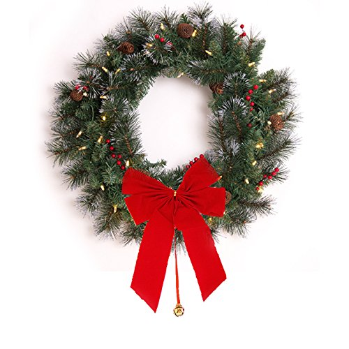 24in Christmas Wreath 35 Warm White LEDs - Red Bow + Bell + Timer (Large Image)