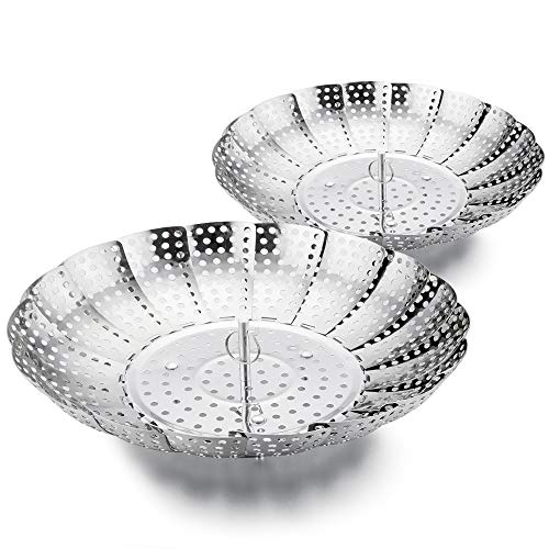TeamFar Vegetable Steamer, Steamer Basket Stainless Steel for Veggie Seafood in Pressure Cooker and Instant Pot, Extendable & Foldable, 2 Pack (5.5'' to 8.75'' & 6'' to 10'')