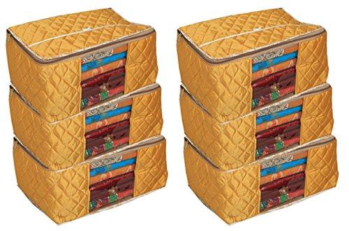 Kuber Industries Saree Cover/Wardrobe Organiser/Regular Clothes Bag Set of 6 Pcs in Quilted Golden Satin Material (KU255)