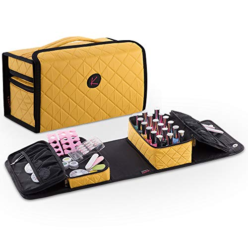 KIOTA Compact Nail Polish and Manicure Set Storage Case, Secure Soft Organizer with Magnetic Closure and Handle, - Canary Bag