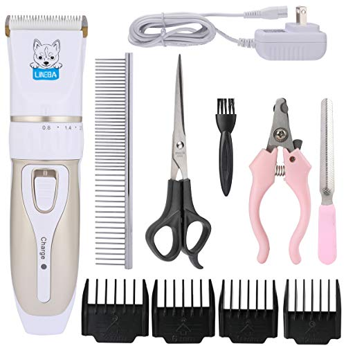 Lineba Ceramic Blade Rechargeable Cordless Pet Hair Clippers Low-Noise Pet Electric Grooming Kit Dogs and Cats Hair…