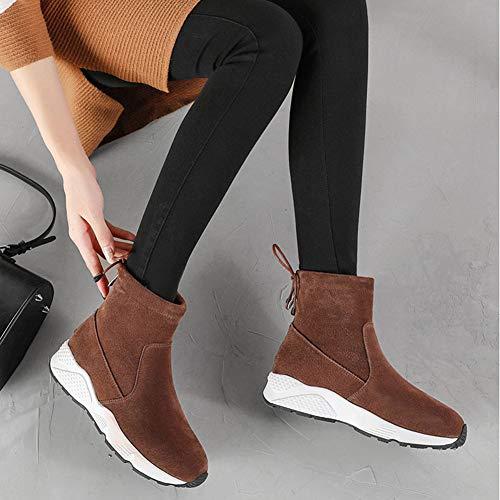 Bottes Épaisses Neige Sportifs Du 5cm Coton De Chaussures Hwf Loisirs 3 Pour Hivernale Hauteur Mode Femme Talon Couleur Dames Café Chaudes Tube Femmes En axIfOfEq