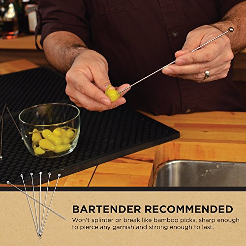 Stainless Steel Cocktail Picks - Extra long 8'' (Set of 12) by Top Shelf Bar Supply (Image #6)
