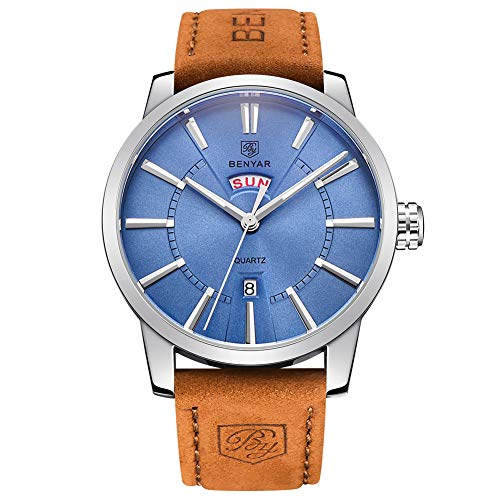 Leather Band Blue Face Watch - BENYAR Classic Casual Elegant Business Watch,Sport, Waterproof, Brown Leather Band, Date,Quartz Mens Wrist Watches 5101M(Blue)