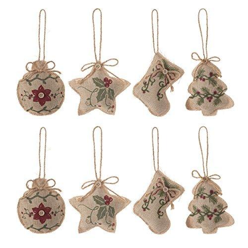 Christmas Tree Ornaments Stocking Decorations - 8pcs Christmas Stocking Tree Ball Star Holiday Party Decor