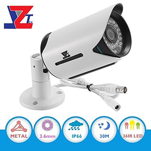 CCTV AHD Security System Camera – JZTEK 1/2.7″ 1080P Surveillance Bullet Camera 3.6mm Lens IR-CUT Wide Angle 30m Night Vision IP66 Waterproof Outdoor for CCTV DVR, Hybrid DVR, AHD DVR
