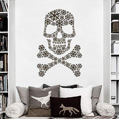 Larmai Wall Art Sticker Decor Snow Skull Decor Ross Bones Vinyl Skull Art Graphics Party Room Decor for Halloween(40h x27w) Art Saying Letters Vinyl Wall Decals]()