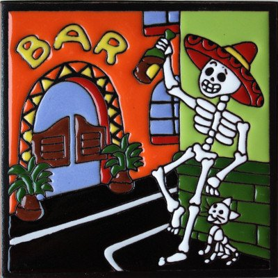 Fine Crafts Imports 6x6 Happy Hour. Day-of-The-Dead Clay Tile