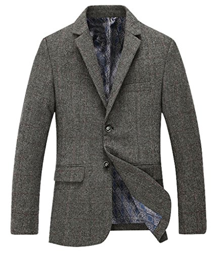Fortuning's JDS Men's Tailored Single-breasted Tweed Blazer Jacket Wool (Wool Tweed Coat)
