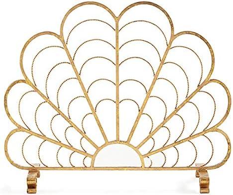 シングルパネルメタル暖炉スクリーン、リビングルームホームインテリアスパークファイアーガード、子供用ペット安全保護、ゴールド、トール78.5cm (Color : Gold, Size : 96×78.5cm/37.8×30.9inch)