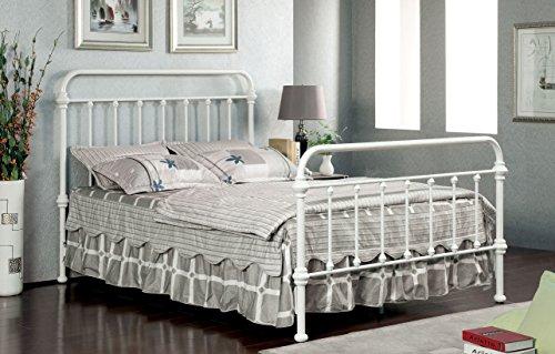 Furniture of America Overtown Metal Bed, Eastern King, Vintage White