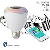 Uxcell–Altavoz inalámbrico Bluetooth Smart Light E27RGB LED foco Cambia de Color Regulable Lámpara de audio estéreo altavoz reproductor de música con app Control Remoto para fiestas, bombillo inteligente 6