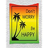 Rasta Tapestry by Ambesonne, Don't Worry Be Happy Music Quote of Iconic Singer Palms Ombre Colors, Wall Hanging for Bedroom Living Room Dorm, 60 W X 80 L Inches, Black Red Green and Yellow