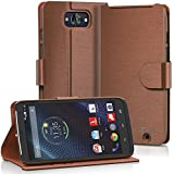 Motorola DROID Turbo Wallet Case - VENA [vSuit] Slim Fit Leather Case with Stand and Card Slots for Motorola DROID Turbo (Not Compatible with Metallized Glass Fiber Version) (Brown)