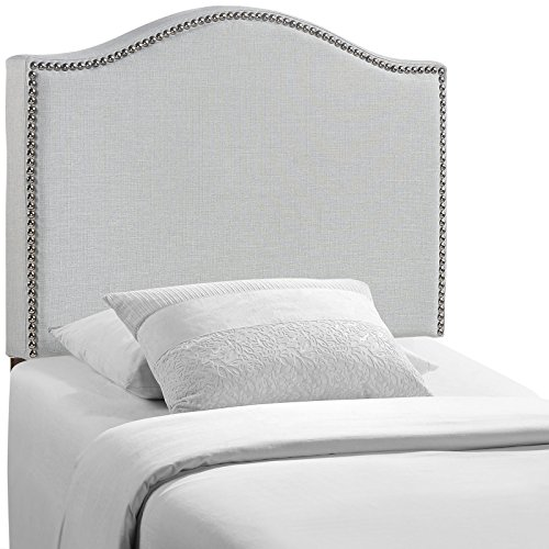 (Modway Curl Linen Fabric Upholstered Twin Headboard with Nailhead Trim and Curved Shape in Gray)