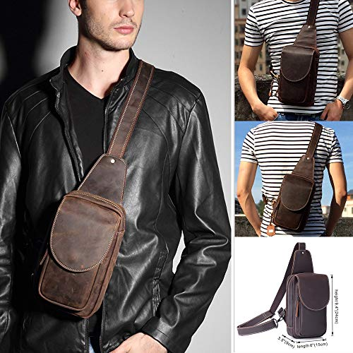 Mens Sling Bag, Retro Real Leather Chest Bag,Sports Messenger One shoulder Bag,Adjustable Strap Outdoor Travel pack,Zipper Anti Theft