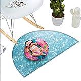 "Baby Half Round Door mats Nine Days Old Girl Sleeping on Tiny Inflatable Ring Crocheted Bikini Sunglasses Bathroom Mat H 39.3"" xD 59"" Tan Multicolor"