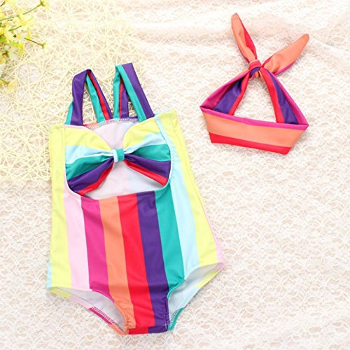 [ELEOPTION Cute Colorful Swimwear Kids Boy Bikini Girl Toddler Swimsuit Dress One Piece Suit Cloth Set For Baby Girl 1-7 Years Old (M, Rainbow Princess)] (Slender Man Skin Suit)