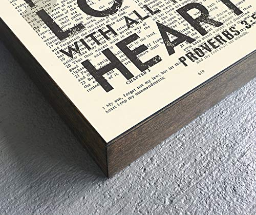 Vintage Bible verse Scripture Art Print on Wooden Block – Proverbs 3:5 -Trust in the Lord with All your Heart – Christian Home & Wall Decor Sign, Old House Dictionary Page, Christmas gift