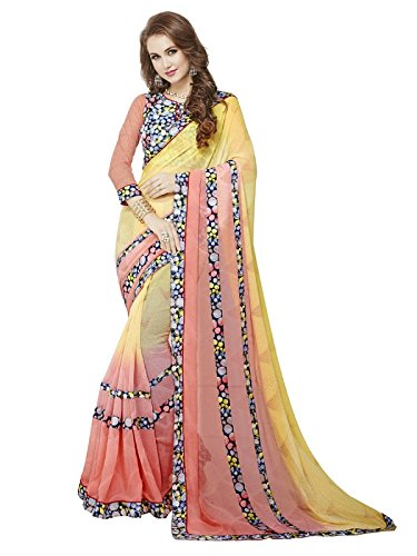 Printed Multi Colour Georgette And Lycra Saree With Blouse Material