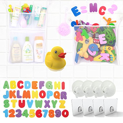 2 Tub Cubby Bath Toy Organizers + 37 Foam Letters + Baby Rubber Ducky - Quick Dry Mesh Net Shower Caddy Helps Kids Toys Dry Mold Free - Two Large White Organization Bags Bathroom Storage Bins