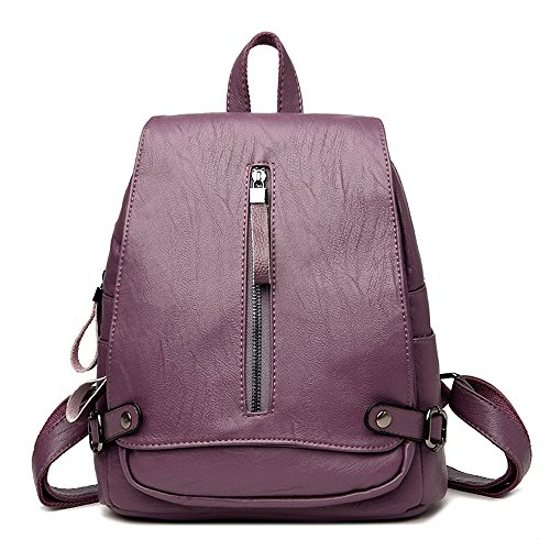 (Xuaber Women Backpack Purse Faux Leather Vintage Cute Small Rucksack Knapsack Back Bag Causal Daypack for Teenager Girls School Student Bookbag(Purple))
