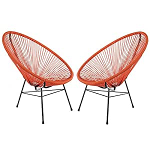 Acapulco Woven Basket Lounge Chair, Set of 2, Orange