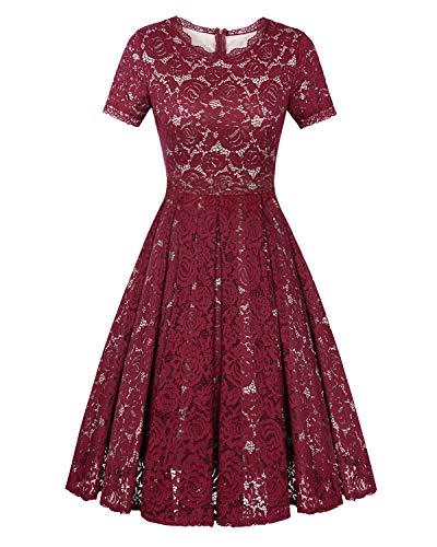 Twinklady Women's Vintage Full Lace Bell Sleeve Big Swing A-Line -