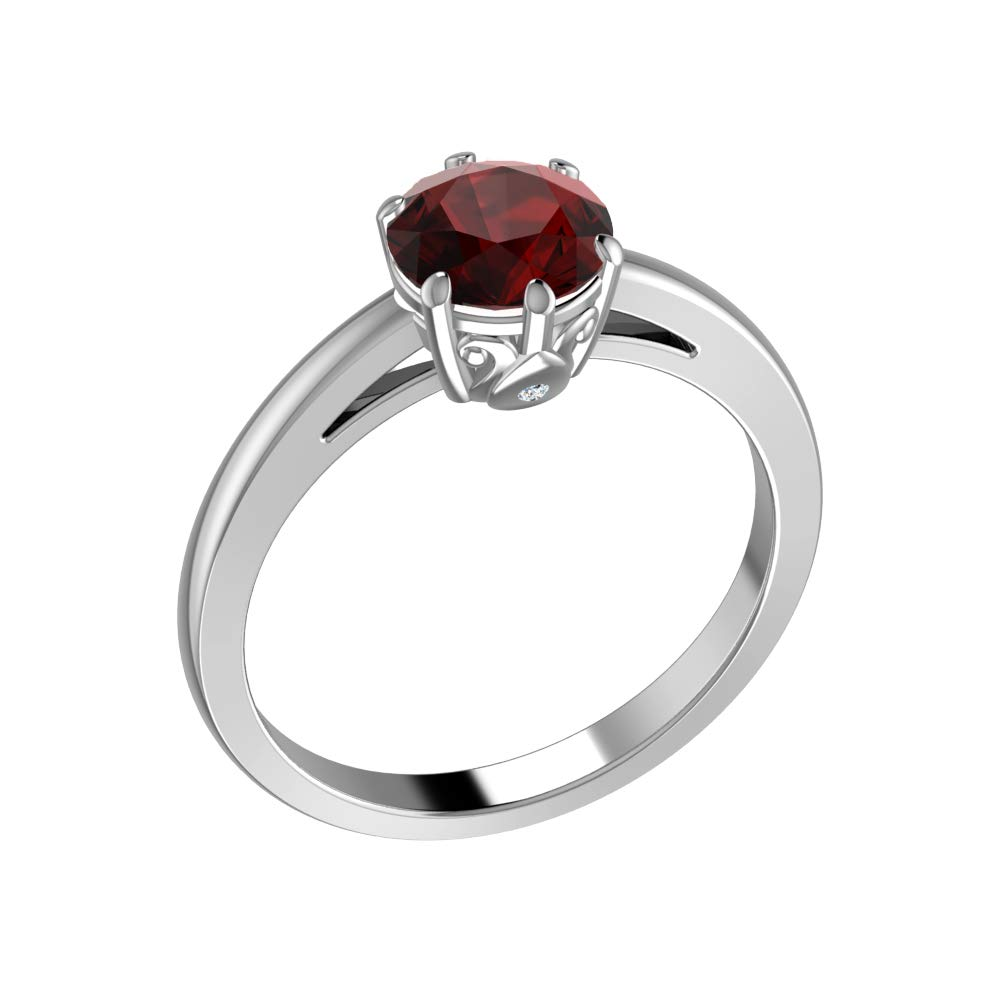 Belinda Jewelz Womens 925 Sterling Silver Classic Solid Band Solitaire Center Round 7 mm Gemstone Timeless Engagement Wedding Jewelry Accessory Fine Ring, 1.36 Carat Red Garnet, Size 7