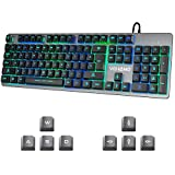Gaming Keyboard Vehemo USB Wired RGB Keyboard Backlit Keyboard 7 Colors Breathing LED Keyboard Computer Keyboard All-Metal Panel 104 Key Keyboard for PC Laptop MAC